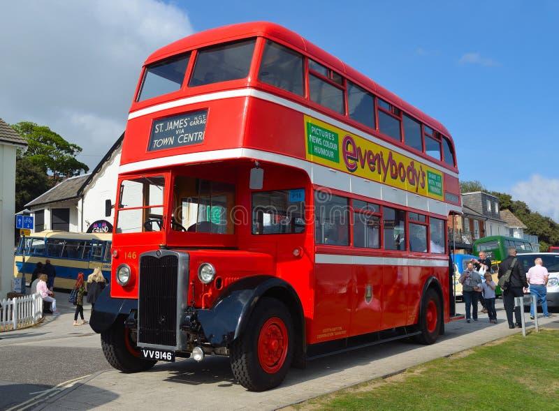 Vintage Red Double Decker Bus Restored Northanpton Transport Corporation imagenes de archivo