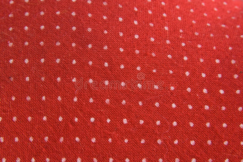 Vintage Red Fabric With White Dots Stock Photo