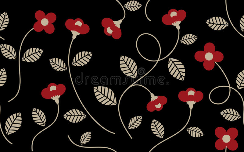 Vintage Red Flower and Leaves Pattern royalty free illustration