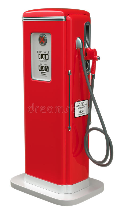 Download Vintage Red Fuel Pump Isolated Over White Stock Illustration - Illustration of business, diesel: 19711765