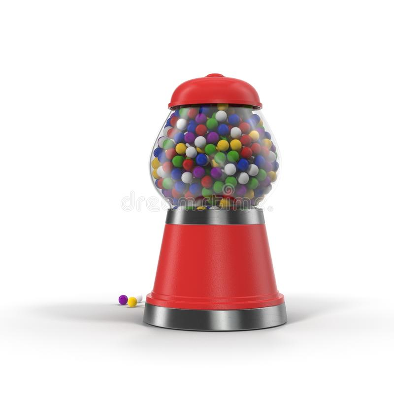 Vintage red gumball machine with multi-colored gumballs on white. 3D illustration vector illustration