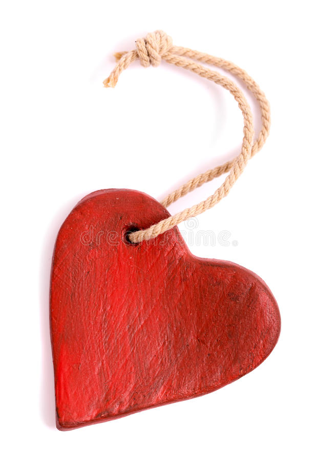 Vintage red heart isolated stock images
