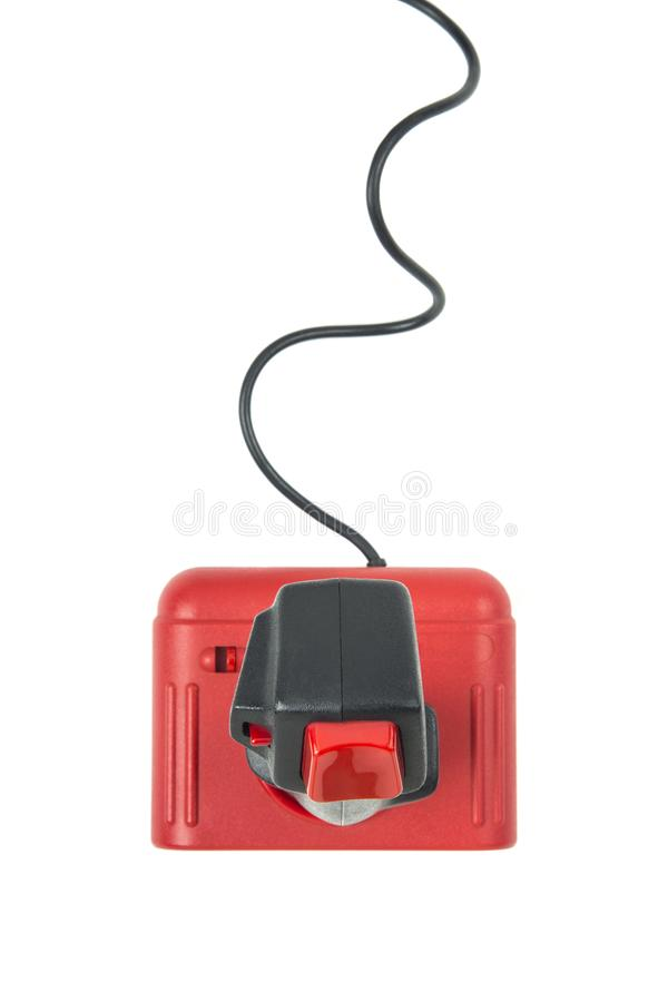 Vintage red joystick viewed from above royalty free stock photo