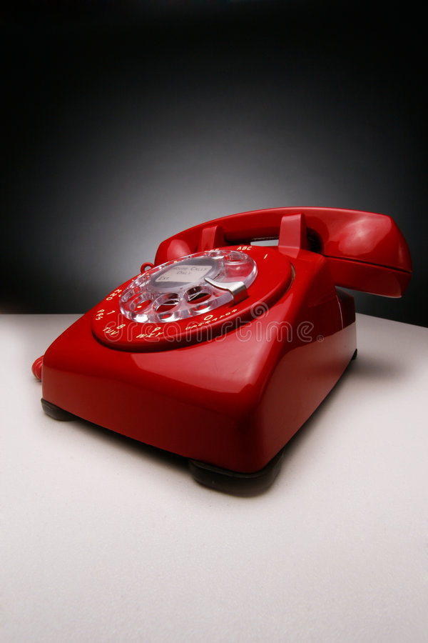 Vintage Red Phone stock photo