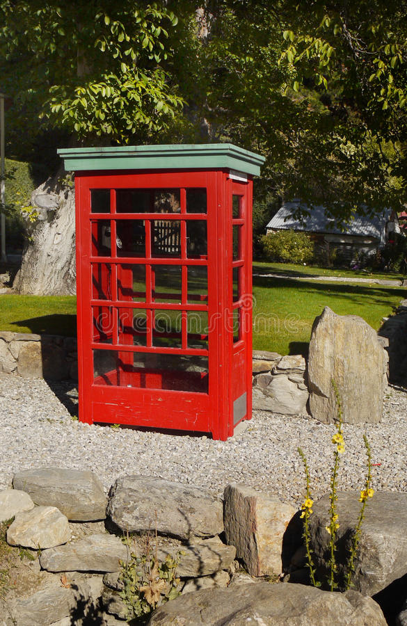 Vintage Red Phone Call Box royalty free stock photography