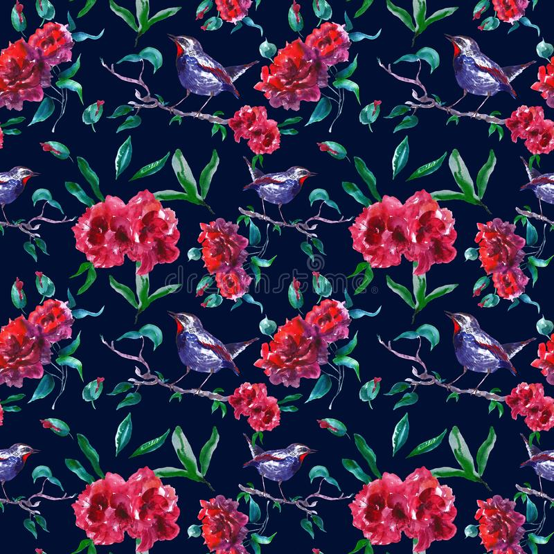 Vintage red roses seamless pattern with bird on tree branch. Abstract Garden floral print on dark background for wallpapers, cards stock illustration