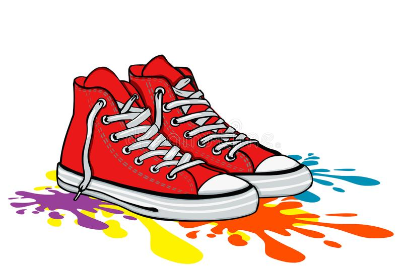 Vintage red sneakers on color fool stock images