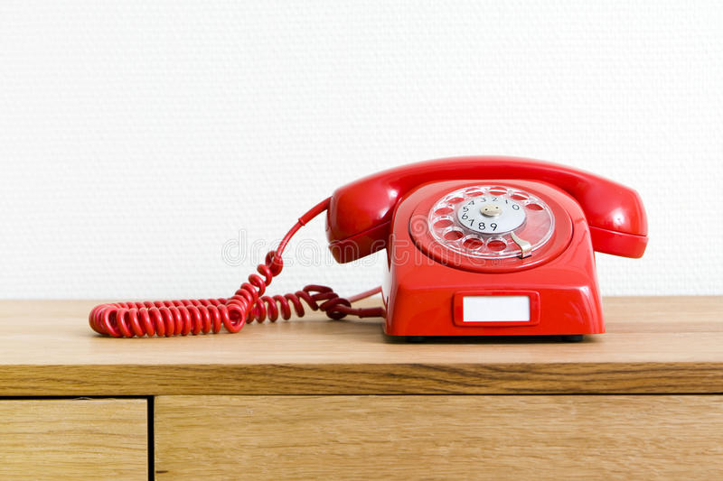 Vintage red telephone royalty free stock image