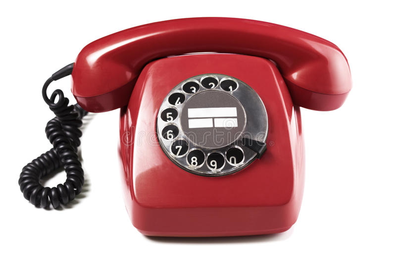 Vintage Red Telephone. On white background royalty free stock photos