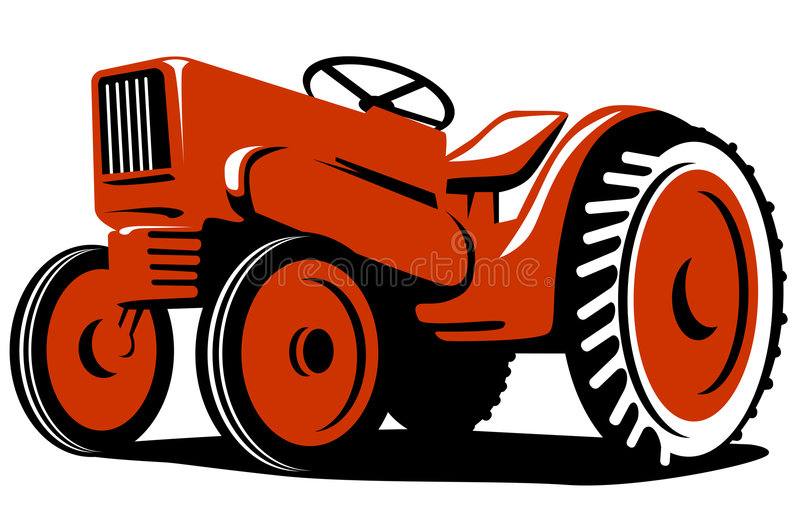 Vintage red tractor stock illustration