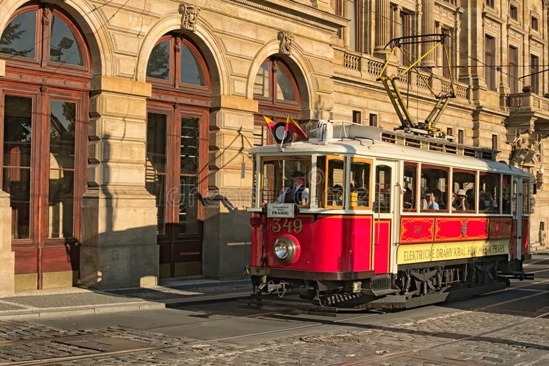 Vintage Red Tram At Street In Historical Center As Symbol Of Prague
