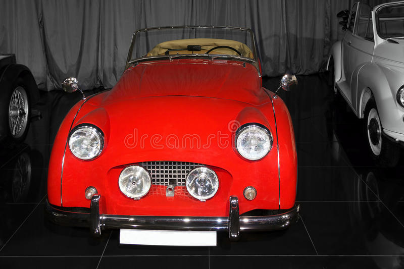 Vintage red Triumph TR3A. 1959 - private Tiriac classic cars collection stock photos