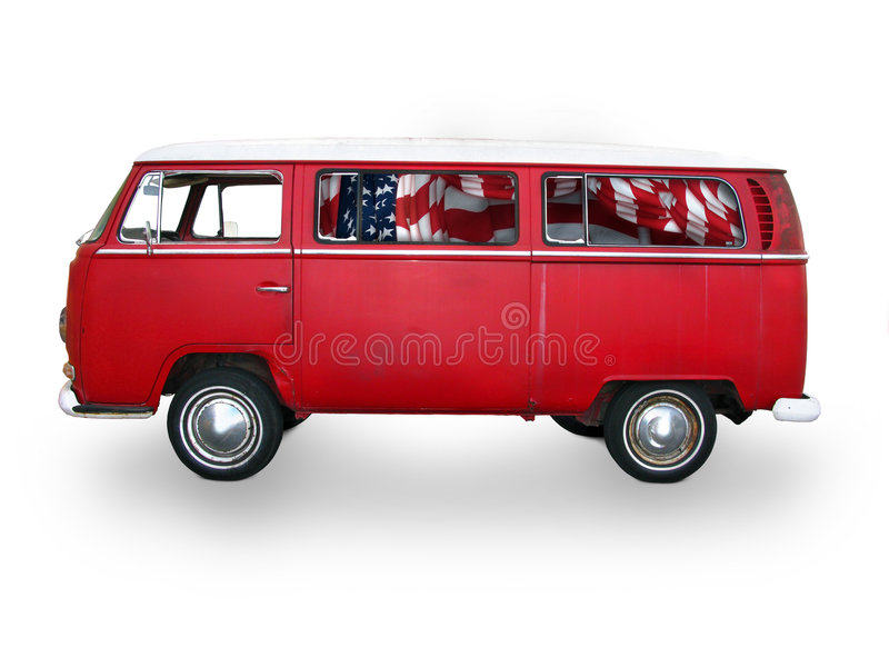 Vintage red van royalty free stock images