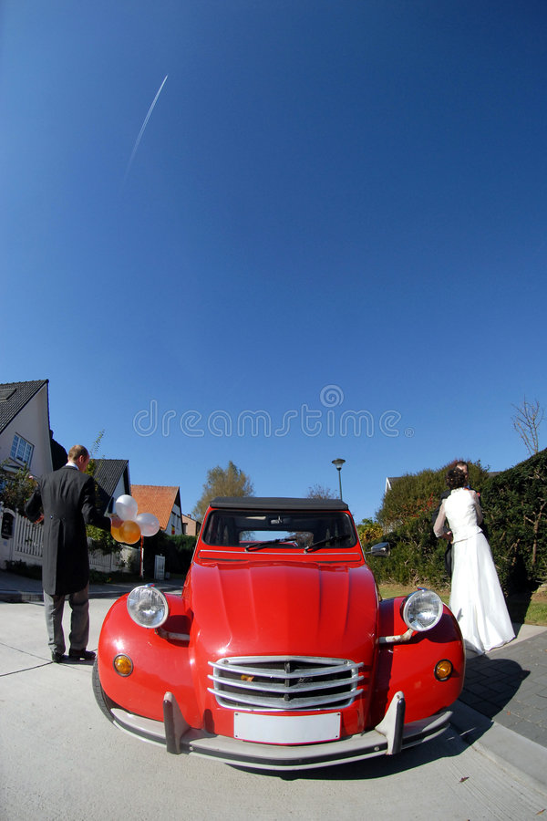 Vintage Red Wedding Car Royalty Free Stock Photo