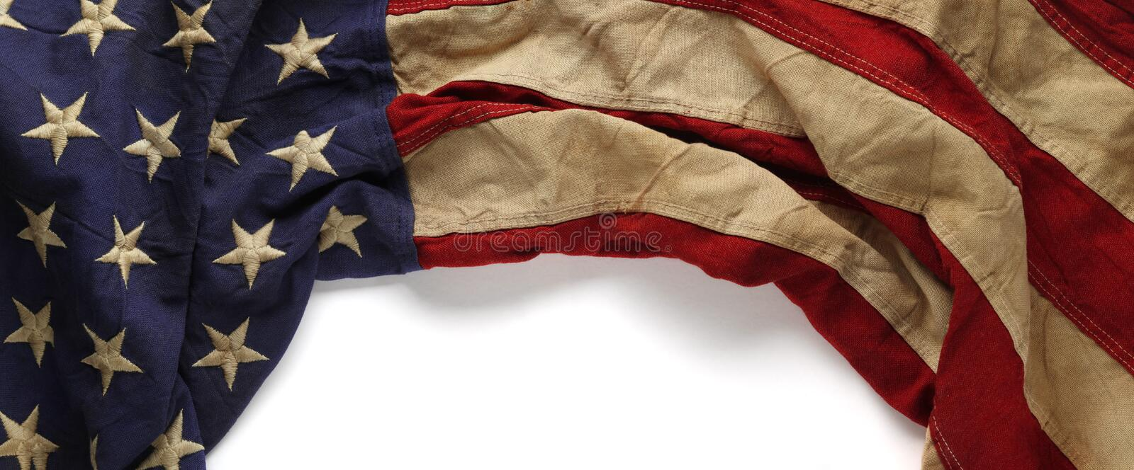 Vintage red, white, and blue American flag for Memorial day or Veteran`s day stock photography