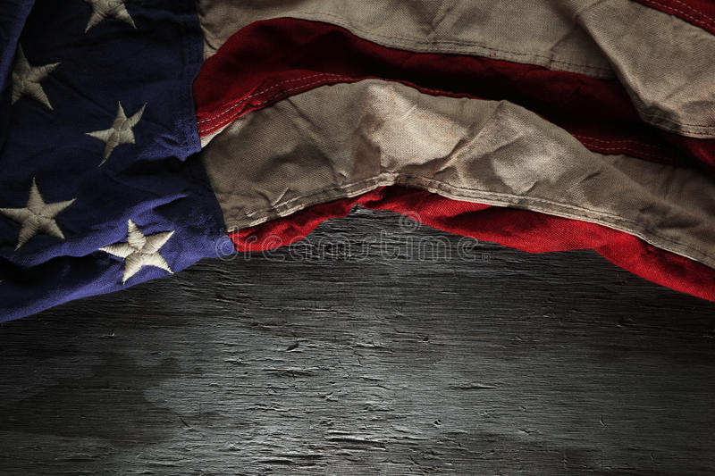 Vintage red, white, and blue American flag stock images
