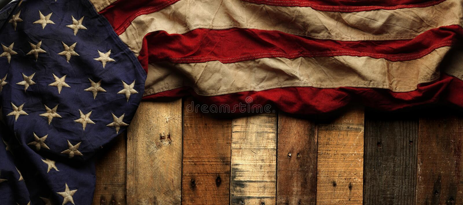 Vintage red, white, and blue American flag. For Memorial day or Veteran`s day background stock photography