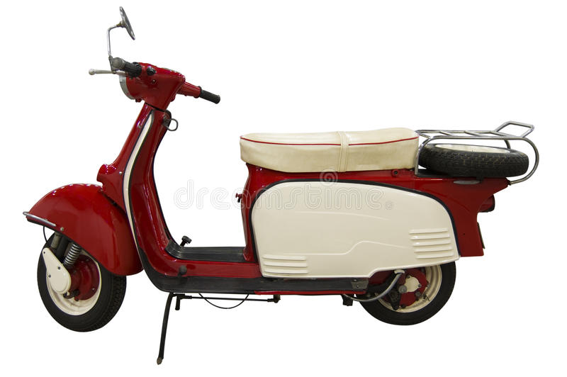 Vintage red and white scooter (path included) stock photos