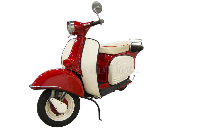 Vintage red and white scooter (path included) stock image