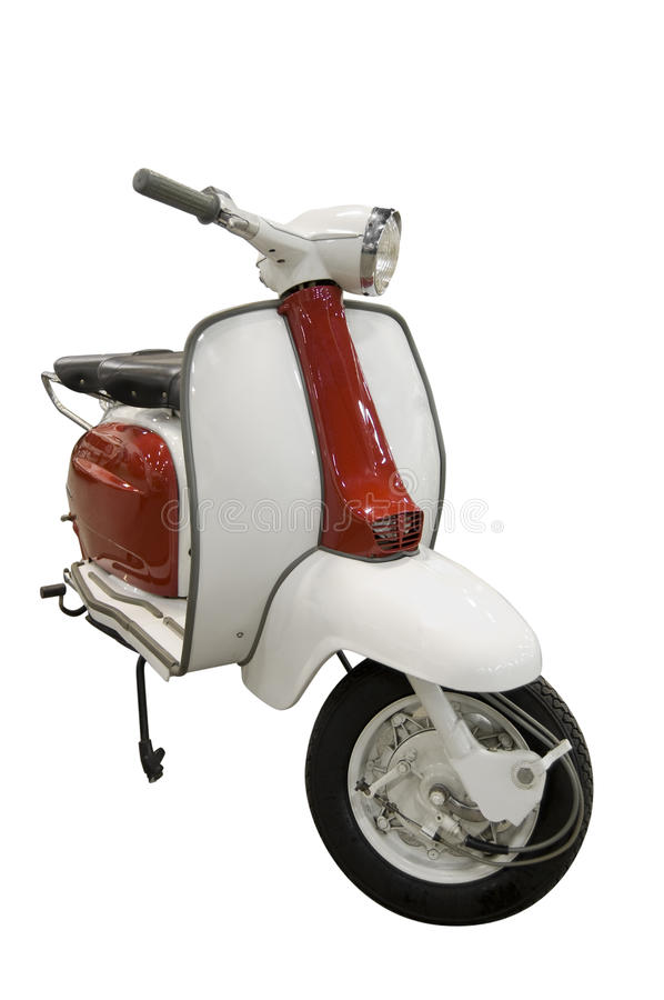 Vintage red and white scooter (path included) stock images