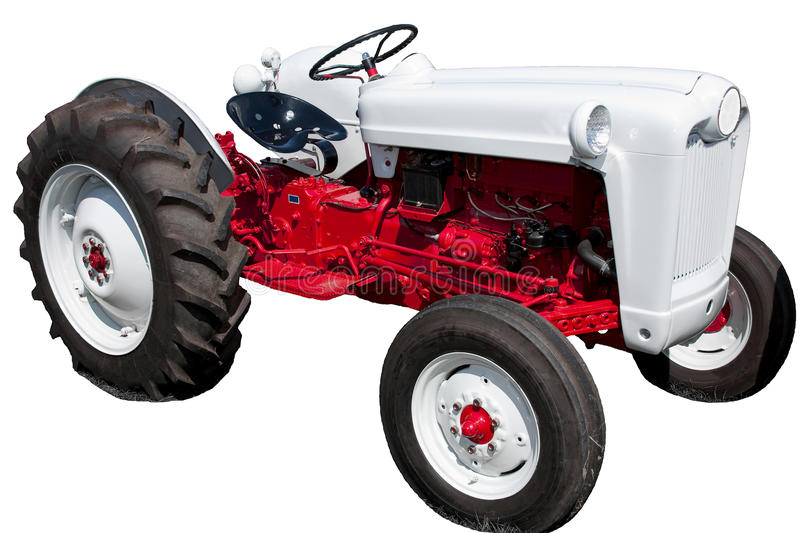 Vintage Red and White Tractor Isolated royalty free stock photography