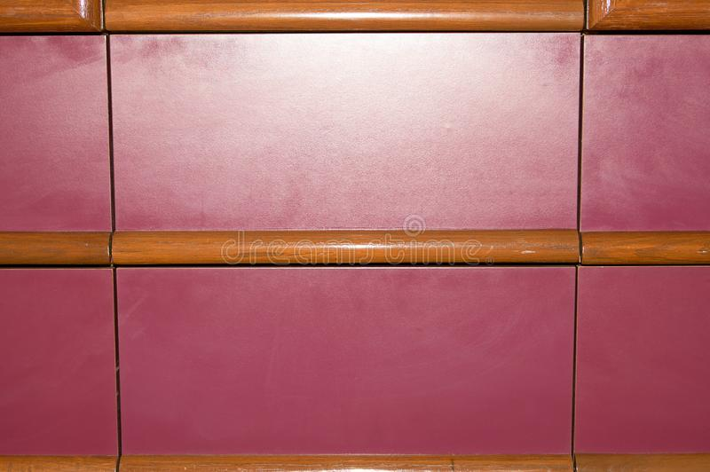 Vintage red wooden panels with beading stock photo