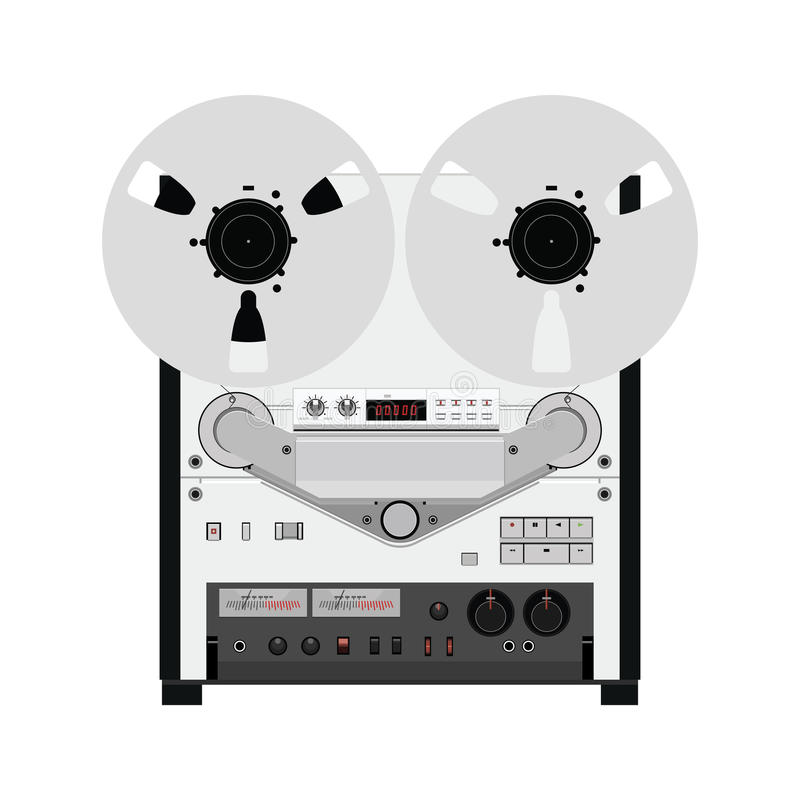 Vintage reel to reel tape recorder deck. Retro technologies. Vector Illustration on isolated white background vector illustration