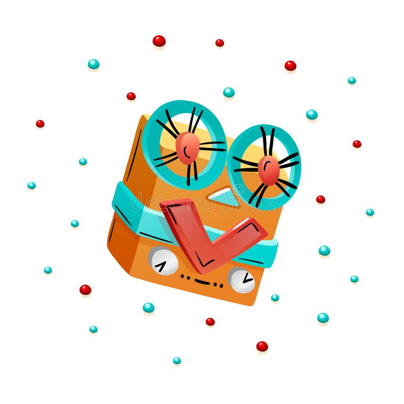 Vintage reel to reel tape recorder in doodle style stock illustration
