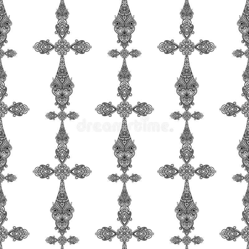 Vintage religious crosses in black and white seamless pattern, heraldic design royalty free illustration