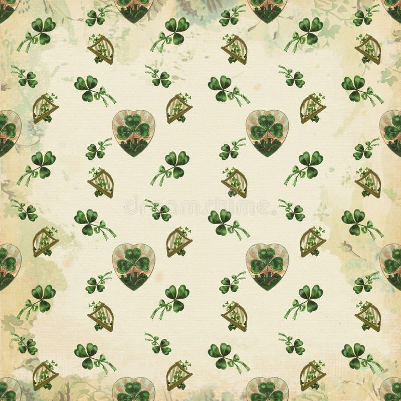 Vintage Repeating Shamrock Pattern - Harp - St Patricks Day - March Background Paper royalty free illustration