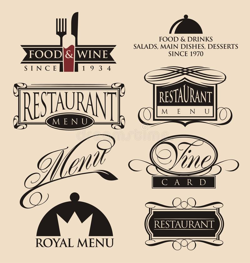 Vintage restaurant logos collection. Vintage set of restaurant signs, symbols, logo elements and icons. Calligraphy decorations collection for restaurant menu