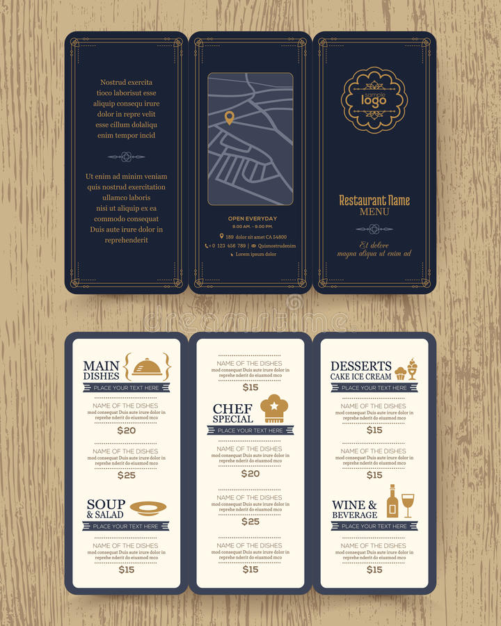 Vintage Restaurant Menu Design Pamphlet Template Stock Vector