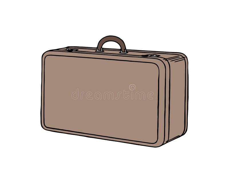 Vintage resväska Retrofodral för bagage Tömd påse, låda, behållare för varor Vektorbild i platt stil vektor illustrationer