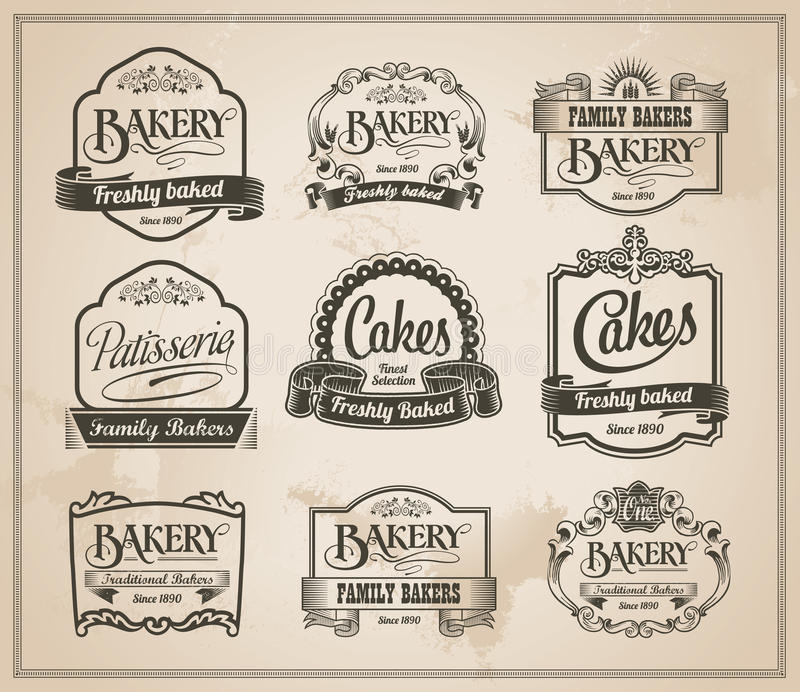 Vintage Retro Bakery Label Set vector illustration