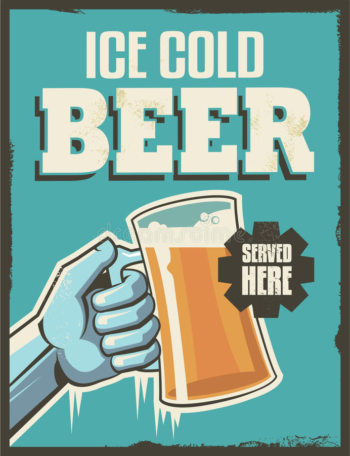 Vintage retro beer poster stock illustration