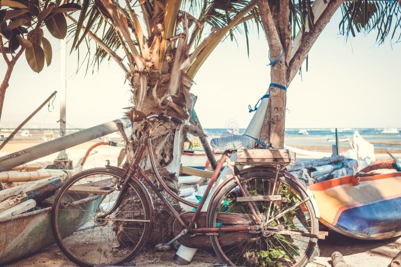 Vintage Retro Bicycle on the beach. Bali island royalty free stock image