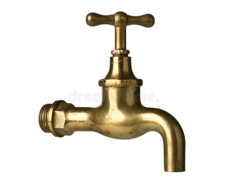 Vintage retro brass water faucet isolated on white royalty free stock images