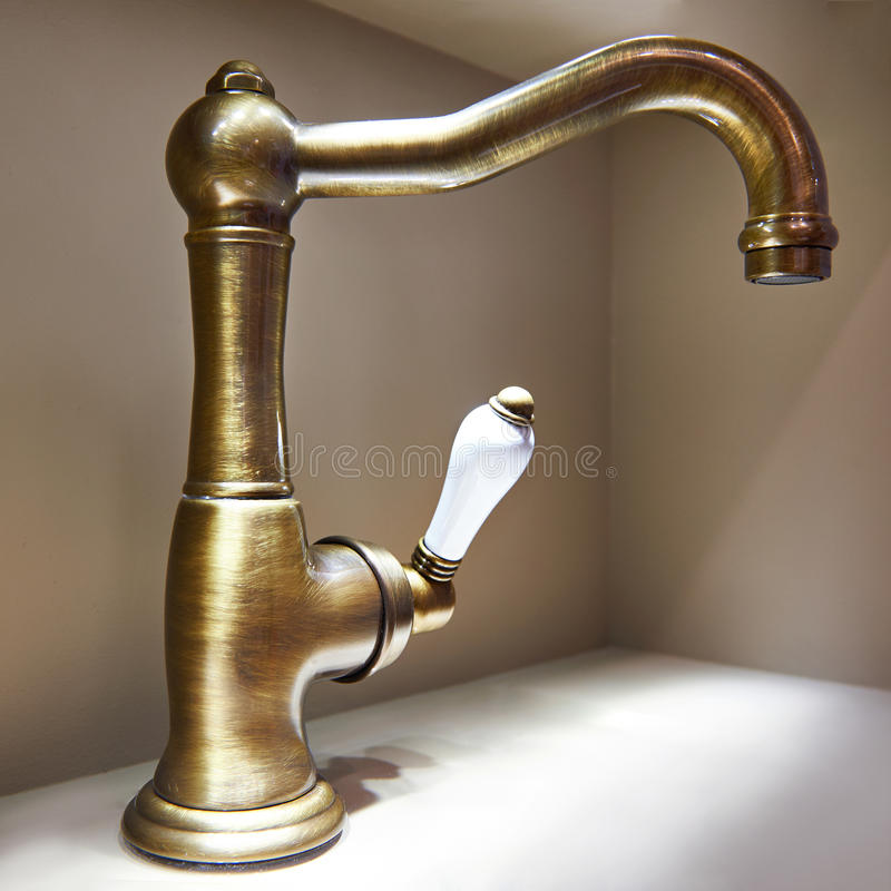 Vintage retro brass water tap faucet stock images