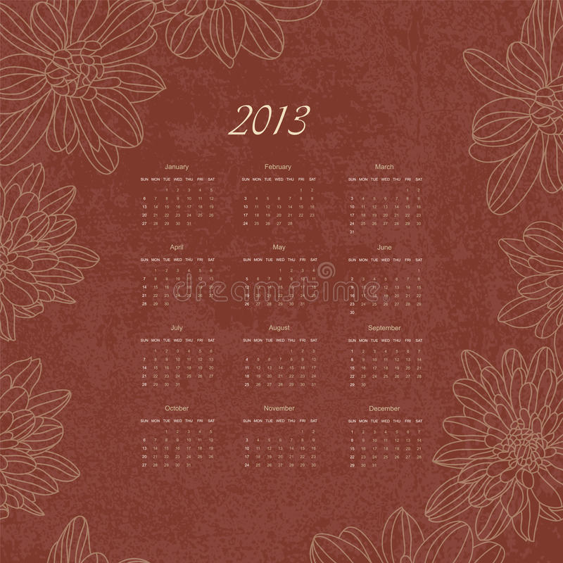 Download Vintage Retro Calender Of 2013 New Year Vector Stock Vector - Illustration: 26167974