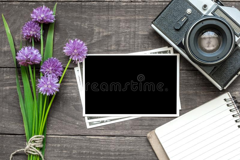 Vintage retro camera with blank photo frame, purple wildflowers and lined notebook on rustic wooden background royalty free stock photo