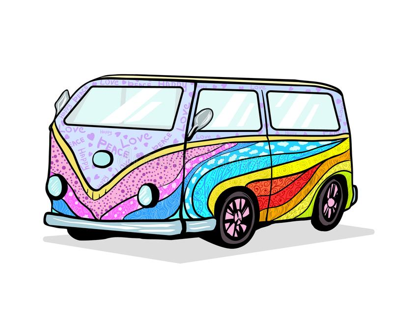 Vintage Retro car. Hand drawn image of hippie transport with airbrushing. Colorful summer hippy camper van for tourism, travel and adventure. Old classic vector illustration
