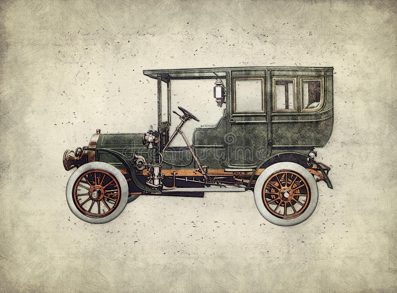 Vintage retro car hatching hand drawing. Green antique automobile. Over hatched background stock illustration