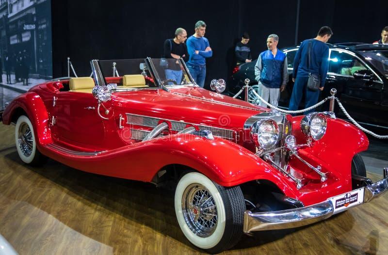 Vintage retro car Mercedes-Benz 500K on 54th Belgrade international car and motor show royalty free stock photography