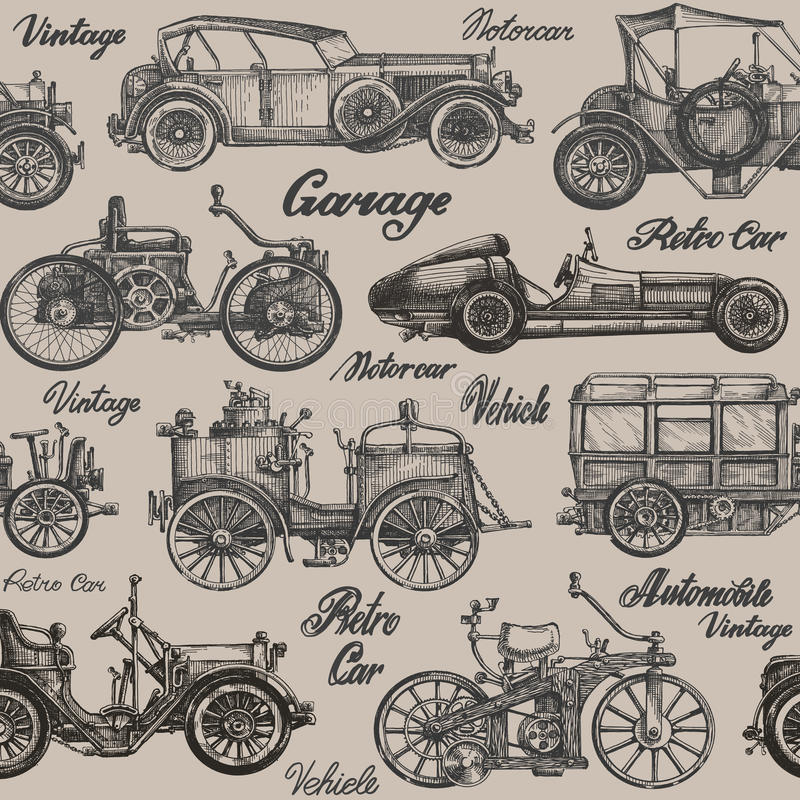 Vintage, retro cars. Background. banner, poster. Collection of vintage cars on a brown background. vector illustration vector illustration