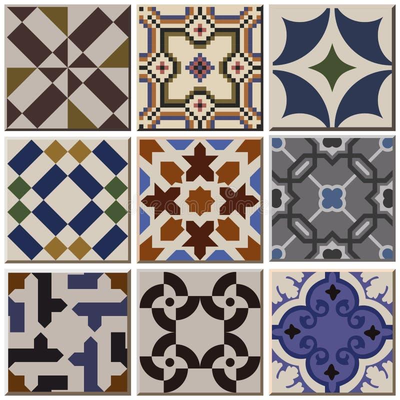 Free Vintage Retro Ceramic Tile Pattern Set Collection 001 Royalty Free Stock Photo - 65244455