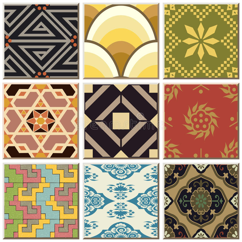 Vintage retro ceramic tile pattern set collection 047. Antique retro ceramic tile pattern set collection can be used for wallpaper, web page background, surface royalty free illustration