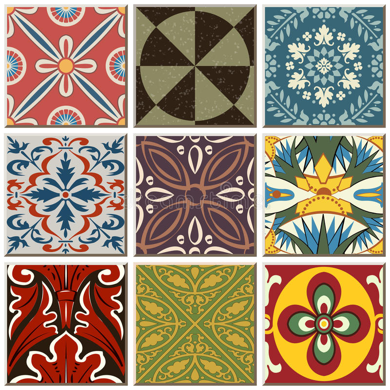 Vintage retro ceramic tile pattern set collection 055. Antique retro ceramic tile pattern set collection can be used for wallpaper, web page background, surface vector illustration