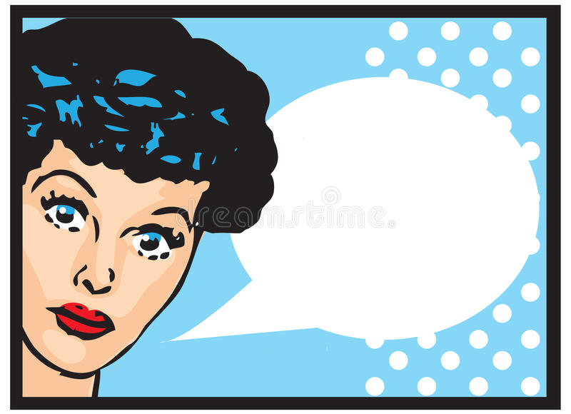 Vintage Retro Clip Art Woman Advertisement Pop Art Girl Talking stock illustration