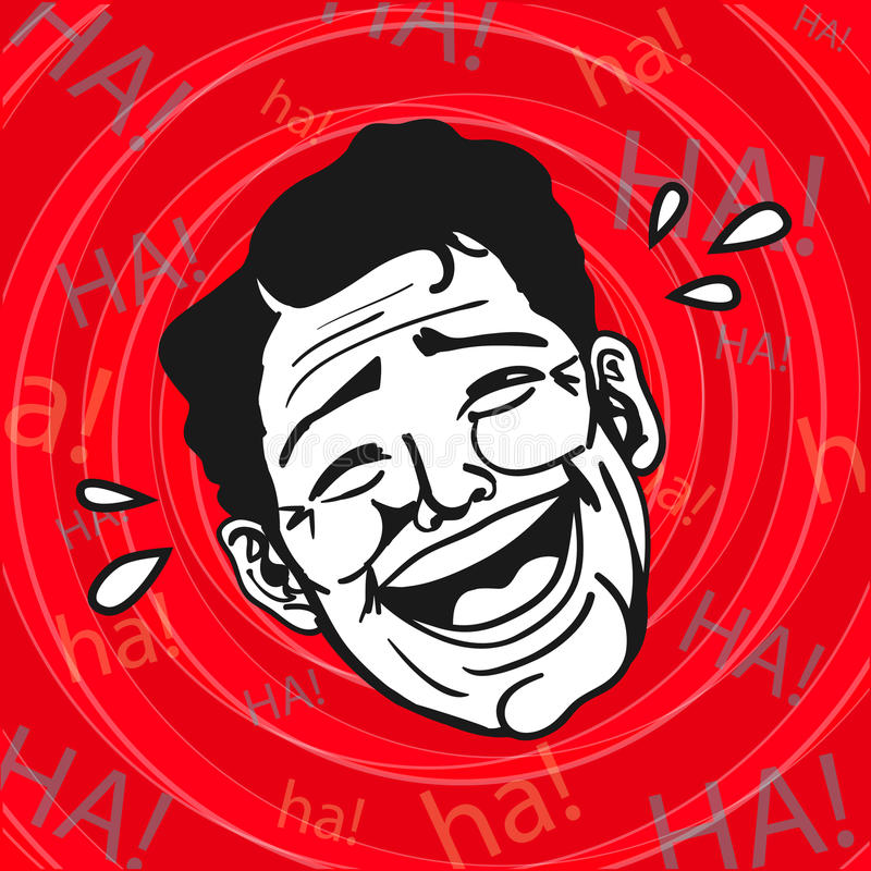 Vintage Retro Clipart : Lol, Man Laughing Out Loud. A man having fun and laughing heartily at some joke or prank stock illustration