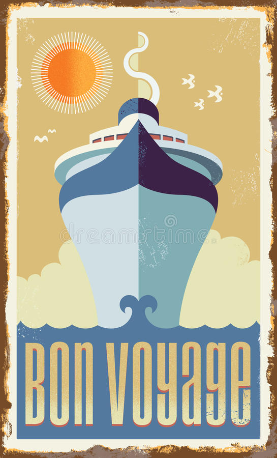 Vintage retro cruise ship Vector Design. Vintage metal sign - retro cruise ship - vector design Holiday travel poster illustration stock illustration